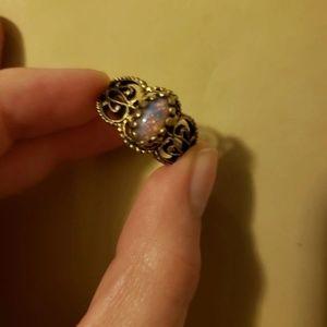 Antique Gold Bronze Fire Opal Ring